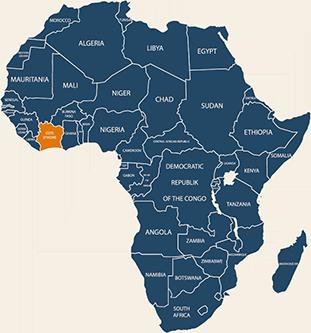 Carte Afrique Côte d'Ivoire
